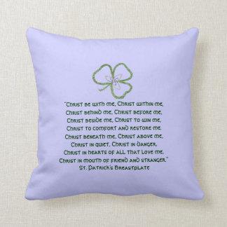 Irish Celtic Shamrock Knot St. Patrick's Prayer Throw Pillow