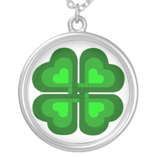 Irish Celtic Shamrock Silver Plated Necklace
