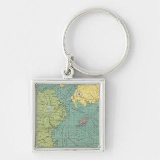 Irish Channel Silver-Colored Square Keychain