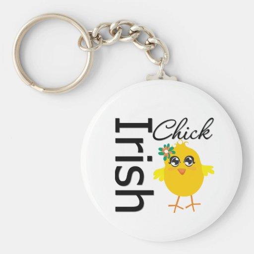 Irish Chick Basic Round Button Keychain