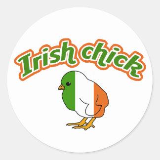 Irish chick classic round sticker