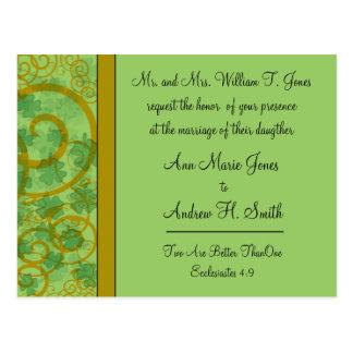 Irish Christian Wedding Invitation Blue Green Postcard