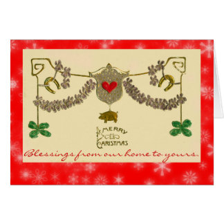 Irish Christmas Green Shamrocks Gold Pig Horseshoe Card