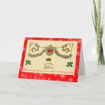 Irish Christmas Green Shamrocks Gold Pig Horseshoe Holiday Card