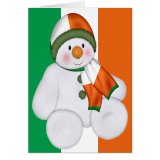 Irish Christmas Snowman Greeting Card