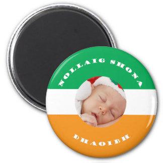 Irish Christmas with Gaelic Greeting Custom Photo 2 Inch Round Magnet