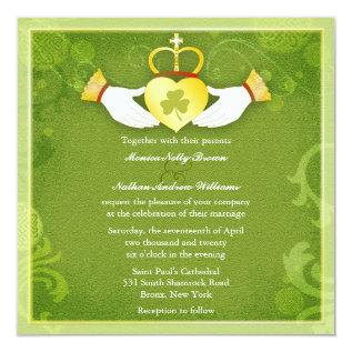 Irish Claddagh Heart Green Celtic Wedding Card at Zazzle