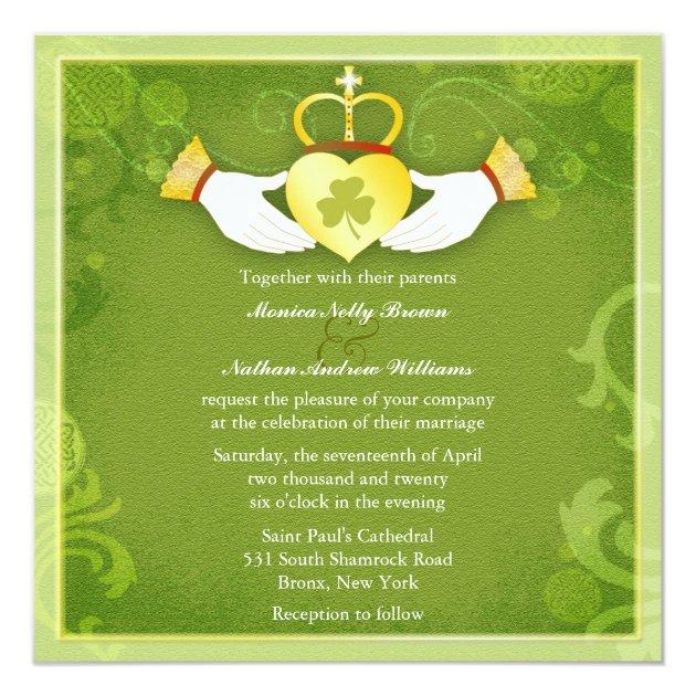 Irish Claddagh Heart Green Celtic Wedding Invitation