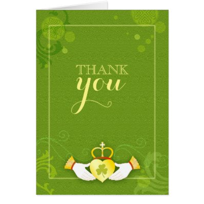Irish Claddagh Heart Green Wedding Thank You Stationery Note Card