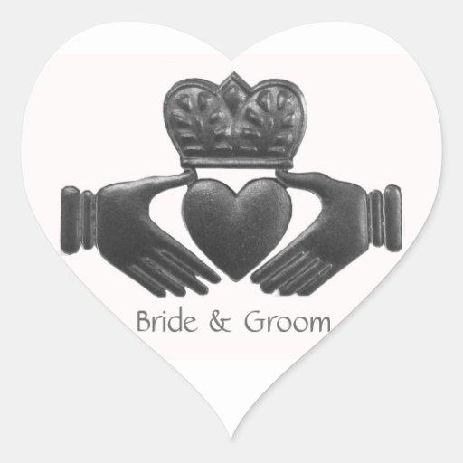 Irish Claddagh Heart shaped Love Symbol Heart Sticker