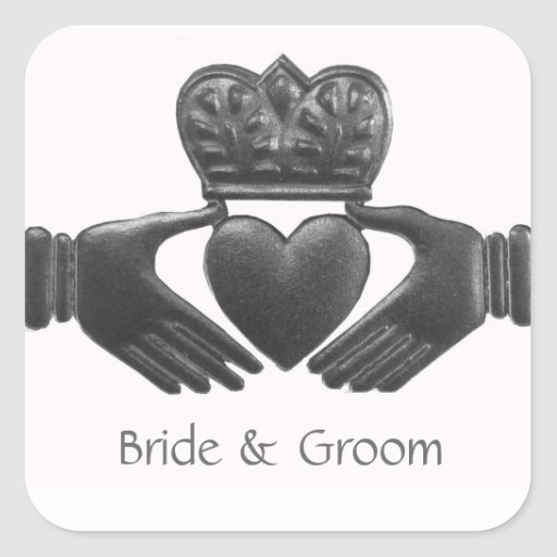 Irish Claddagh Heart shaped Love Symbol Square Sticker