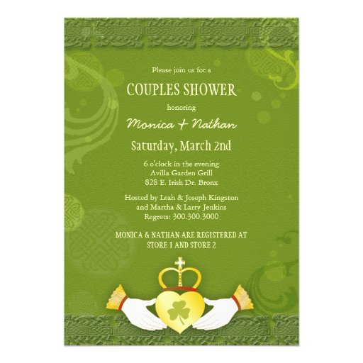 Irish Claddagh Heart Wedding Couples Shower Invite from Zazzle.com
