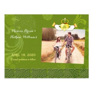 Irish Claddagh Heart Wedding Photo Save the Date Postcard