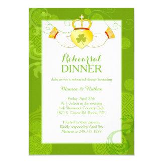 Irish Claddagh Ring Wedding Rehearsal Dinner 5x7 Paper Invitation Card