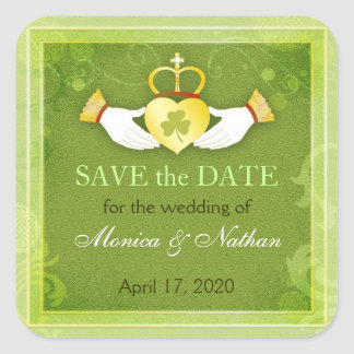Irish Claddagh Ring Wedding Save the Date Square Sticker