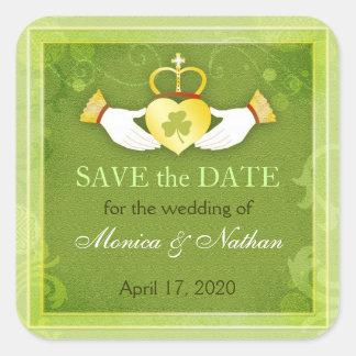 Irish Claddagh Ring Wedding Save the Date Square Sticker