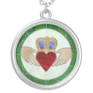 Irish Claddagh Silver Plated Necklace
