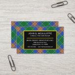 Irish Clan MacAuliffe Tartan Plaid Business Card
