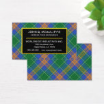 Irish Clan MacAuliffe Tartan Plaid Business Card