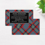 Irish Clan MacNamara McNamara Tartan Plaid Business Card