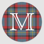 Irish Clan MacNamara Tartan With Monogram Classic Round Sticker
