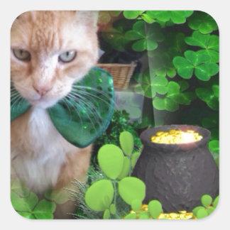 Irish Claude Cat Square Sticker
