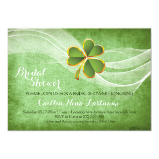 Irish clover and veil green wedding bridal shower card at Zazzle