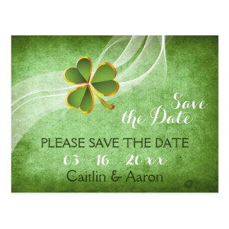 Irish clover and veil green wedding Save the Date Postcard