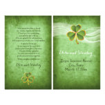 Irish clover and veil wedding green program flyer