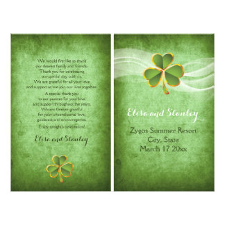 Irish clover and veil wedding green program flyer
