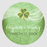 Irish clover and veil wedding Save the Date Classic Round Sticker