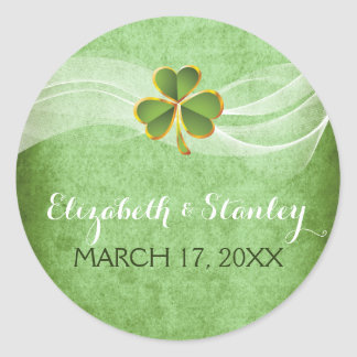 Irish clover and veil wedding Save the Date Classic Round Sticker