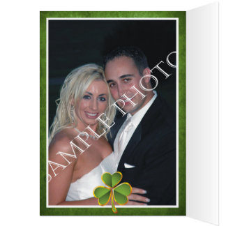 Irish clover and veil wedding Thank you photo Stationery Note Card