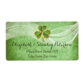 Irish clover and white veil green Irish wedding Label
