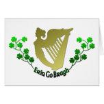 Irish Clover Erin Go Bragh Irish Harp Eire Card