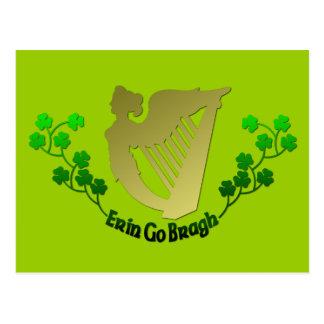 Irish Clover Erin Go Bragh Irish Harp Eire Postcard