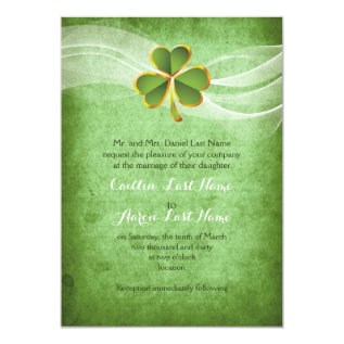 Irish clover green Saint Patrick's Day wedding Card at Zazzle