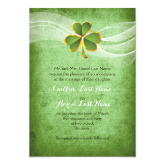 Irish clover green Saint Patrick's Day wedding Card