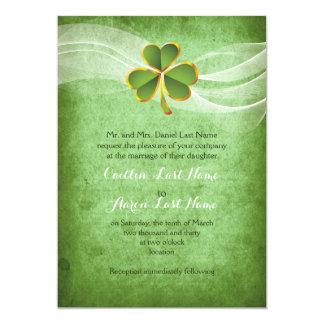 Irish clover green Saint Patrick's Day wedding Card