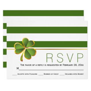 Irish clover green, white stripes wedding RSVP Card at Zazzle