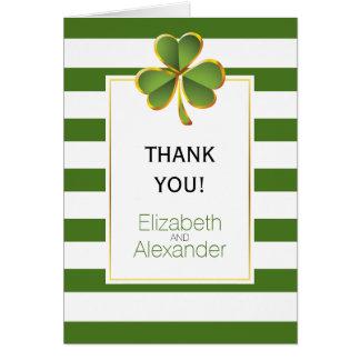 Irish clover green white stripes wedding Thank You Card