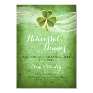 Irish clover & veil wedding rehearsal dinner card at Zazzle