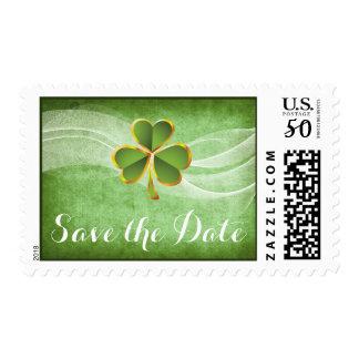 Irish clover & veil wedding Save the Date Postage