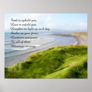 Irish Coastline and Prayer Poster