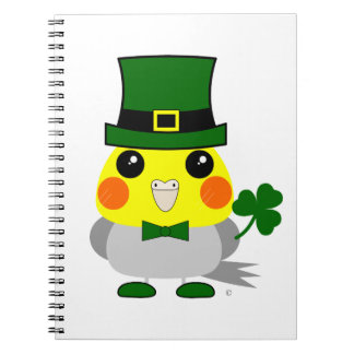 Irish cockatiel dressed for St Patrick's Day Notebook
