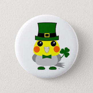 Irish cockatiel dressed for St Patrick's Day Pinback Button