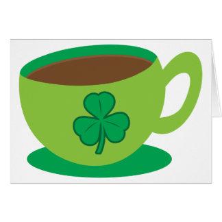 IRISH coffee CUP with a shamrock Card