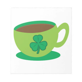IRISH coffee CUP with a shamrock Notepad