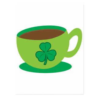 IRISH coffee CUP with a shamrock Postcard