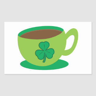 IRISH coffee CUP with a shamrock Rectangle Stickers